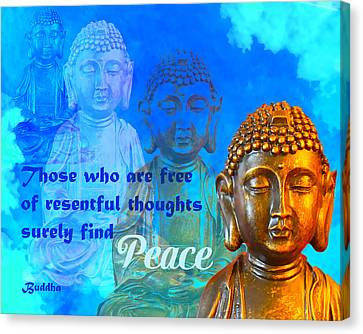 Canvas Print featuring the photograph Buddha's Thoughts Of Peace by Ginny Gaura