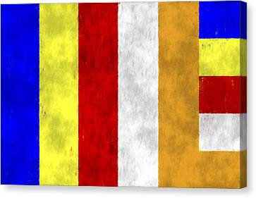 Tibetan Buddhism Canvas Print - Buddhist Flag by World Art Prints And Designs