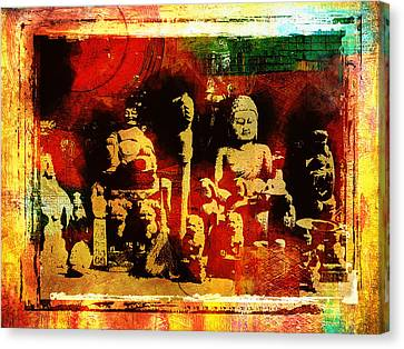 Clearing Canvas Print - Buddhist In Market Place by Page One Tang
