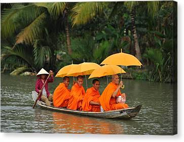 Buddhist Monks In Mekong River Canvas Print