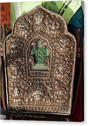Buddhist Shrine With Computer Chip Cpu Canvas Print by Paul D Stewart
