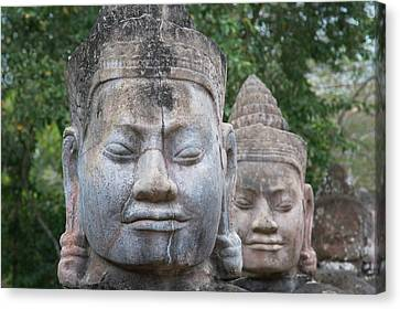 Angkor Thom Canvas Print - Buddhist Statues At The South Gate by Keren Su