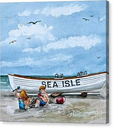 Buddies In Sea Isle City 2 Canvas Print by Nancy Patterson