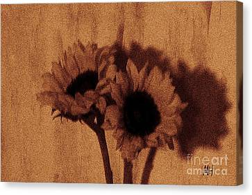 Digital Sunflower Canvas Print - Buddies by Marsha Heiken