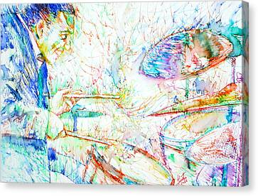 Drummer Canvas Print - Buddy Rich Playing by Fabrizio Cassetta