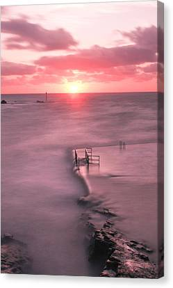 Bude Sea Pool Sunset Canvas Print by Debra Jayne