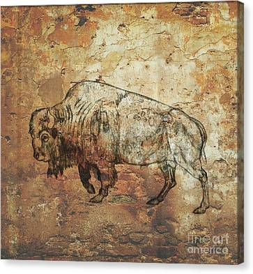 Canvas Print featuring the drawing Buffalo 4 by Larry Campbell