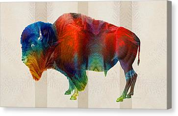 Mascots Canvas Print - Buffalo Animal Print - Wild Bill - By Sharon Cummings by Sharon Cummings