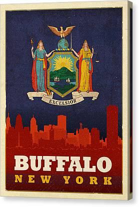 Buffalo Canvas Print - Buffalo City Skyline Flag Of New York State Art Poster Series 003 by Design Turnpike