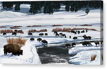 Buffalo Ford Winter Canvas Print
