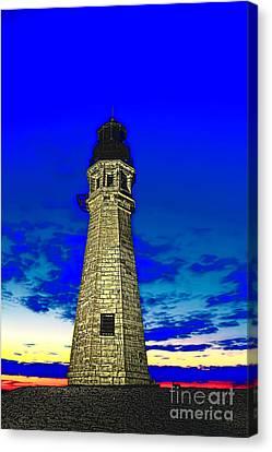 Buffalo Harbor Lighthouse At Sunset Canvas Print