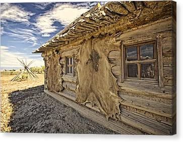 Log Cabin Art Canvas Print - Buffalo Hide On Trading Post Colorado by James Steele