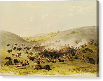 Buffalo Hunt, Surround, C.1832 Coloured Engraving Canvas Print by George Catlin
