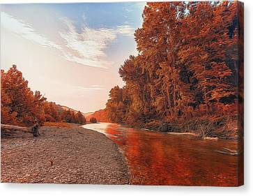 Buffalo River Painted Red Canvas Print by Bill Tiepelman