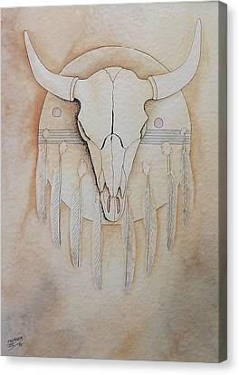 Canvas Print featuring the painting Buffalo Shield by Richard Faulkner