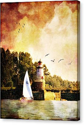 Ports Canvas Print - Buffalo South Entrance Light by Lianne Schneider