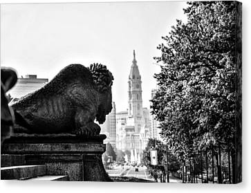 Buffalo Statue On The Parkway Canvas Print by Bill Cannon