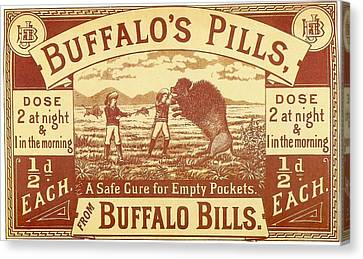 Canvas Print featuring the photograph Buffalo's Pills Vintage Ad by Gianfranco Weiss