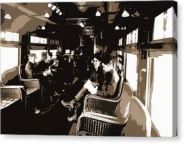 Buffet Library Car On A Deluxe Overland Limited Train Canvas Print by Litz Collection