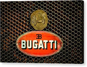 Bugatti Vintage Car Canvas Print - Bugatti Emblem -0903c by Jill Reger