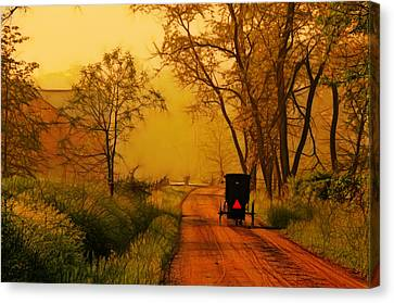 Buggy On A Sunday Morning Drive Batik Canvas Print by Laura James