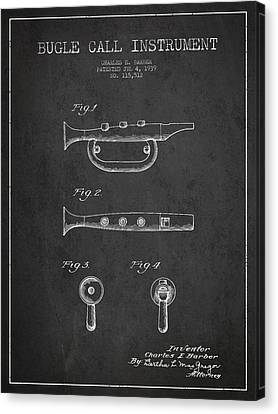 Bugle Call Instrument Patent Drawing From 1939 - Dark Canvas Print by Aged Pixel
