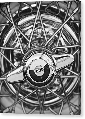 Buick Skylark Wheel Black And White Canvas Print by Jill Reger