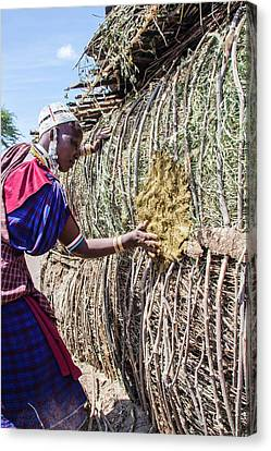 Building A Maasai Hut Canvas Print by Photostock-israel