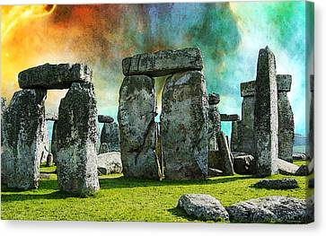 Building A Mystery - Stonehenge Art By Sharon Cummings Canvas Print by Sharon Cummings