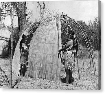 Building A Yokut House Canvas Print by Underwood Archives Onia