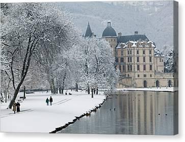 Building Along A Lake, Chateau De Canvas Print