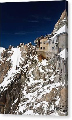 Canvas Print featuring the photograph building in Aiguille du Midi - Mont Blanc by Antonio Scarpi