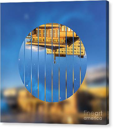 Building In The Morning With Starry Night Sky Canvas Print by Beverly Claire Kaiya