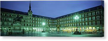 Building Lit Up At Dusk, Plaza Mayor Canvas Print by Panoramic Images