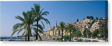 Building On The Waterfront, Menton Canvas Print by Panoramic Images