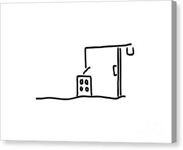 Building Site With Crane Building A House Canvas Print