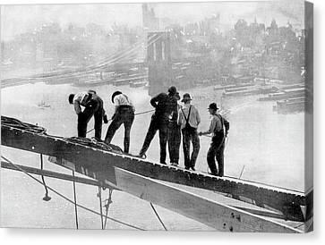 Architectural Landscape Canvas Print - Building The Manhattan Bridge by Cci Archives