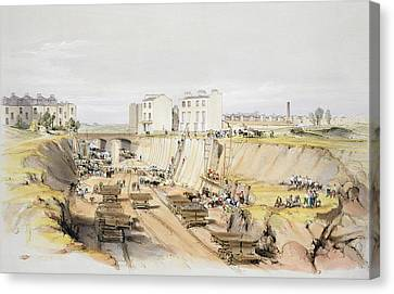 Building Canvas Print - Building The Retaining Wall Near Park by John Cooke Bourne