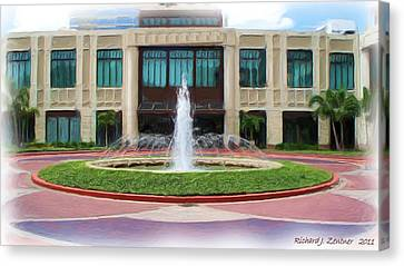 Canvas Print featuring the digital art Building With Fountain Painting by Richard Zentner