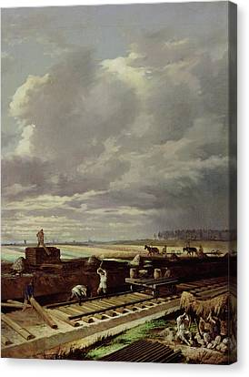 Building Work On A Railway Line, 1871 Oil On Canvas Canvas Print by Vasili Vladimirovits Pukirev