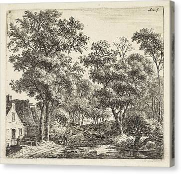 Buildings Along A Forest Trail, Anthonie Waterloo Canvas Print