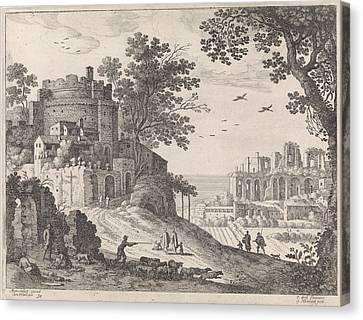 Buildings Along A Road, William Of Nieulandt II Canvas Print