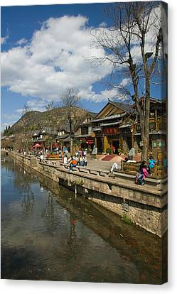 Buildings Along Yu River Canal, Old Canvas Print