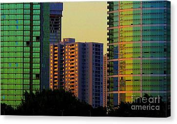 Buildings At Sunset Canvas Print by Ranjini Kandasamy