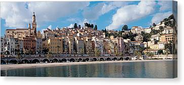Buildings At The Waterfront, Menton Canvas Print by Panoramic Images