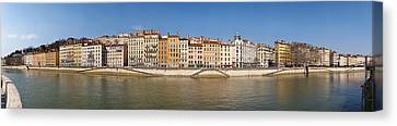 Buildings At The Waterfront, Saone Canvas Print by Panoramic Images