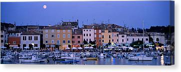 Moonlit Canvas Print - Buildings, Evening, Moonrise, Rovinj by Panoramic Images