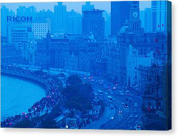 Bund Shanghai Canvas Print - Buildings In A City At Dusk, The Bund by Panoramic Images