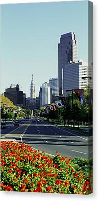Buildings In A City, Benjamin Franklin Canvas Print by Panoramic Images