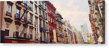 Fire Escape Canvas Print - Buildings In A Street, Mott Street by Panoramic Images